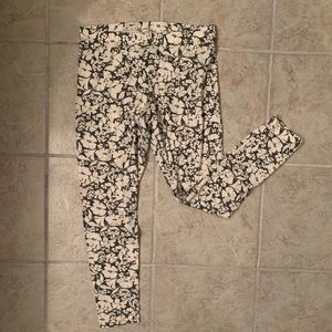 White and Gray floral Leggings